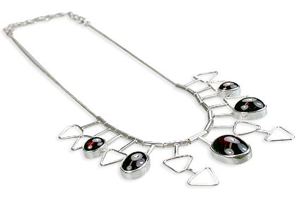 Red Garnet Silver Setting Necklaces 16 Inches