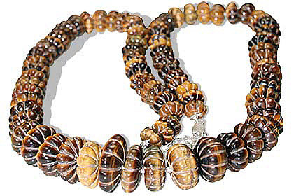 Brown Yellow Tiger Eye Beaded Necklaces 25 Inches
