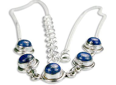 Blue Lapis Lazuli Silver Setting Necklaces 15 Inches