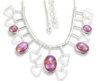 Pink Purple Mohave Silver Setting Necklaces 16 Inches