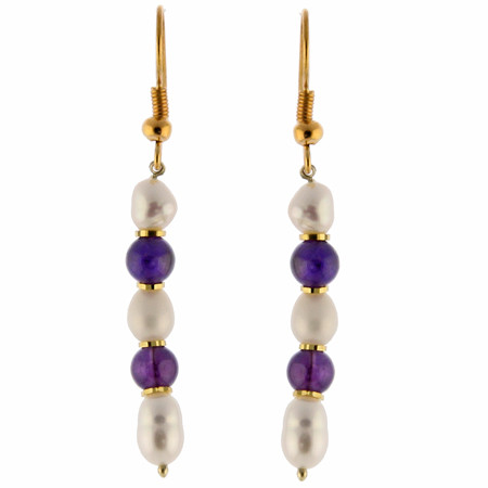 Purple White Pearl Amethyst Beaded Earrings 1 Inches
