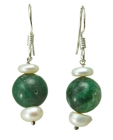 Green White Pearl Aventurine Beaded Earrings 0.75 Inches
