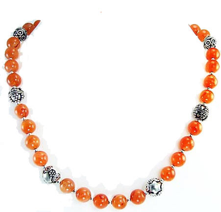Orange Carnelian Beaded Simple-strand Necklaces 17 Inches