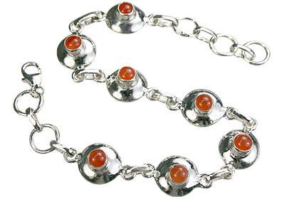 Orange Carnelian Silver Setting Bracelets 7 Inches