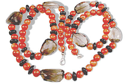 Brown Orange Carnelian Smoky Quartz Beaded Necklaces 37 Inches