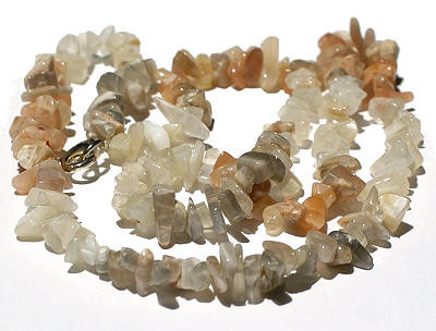 White Moonstone Beaded Chipped Necklaces 17 Inches