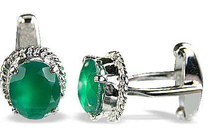 Green Onyx Silver Setting Cufflinks 0.75 Inches