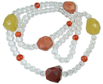 Multi-color Crystal Multi-stone Beaded Necklaces 28 Inches