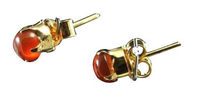 Orange Carnelian Silver Setting Studs Earrings