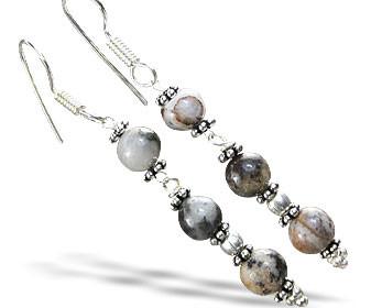 Black Gray Jasper Beaded Earrings 2 Inches