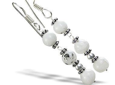 White Moonstone Beaded Earrings 1.75 Inches
