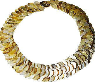 Brown Yellow Multi-color Mother-of-pearl Beaded Choker Necklaces 19 Inches