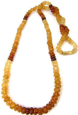 Brown Hessonite Garnet Beaded Necklaces 24 Inches