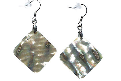 MOTHER-OF-PEARL WHITE GOLD PLATED GRAY EARRINGS