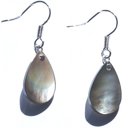 Gray Shell Beaded Earrings 15 Inches