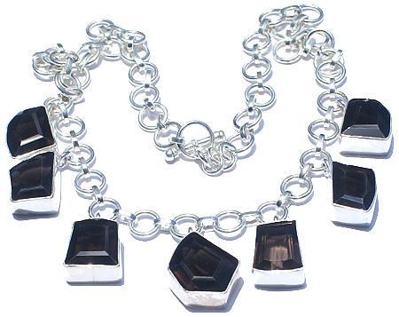 Brown Gray Smoky Quartz Silver Setting Necklaces