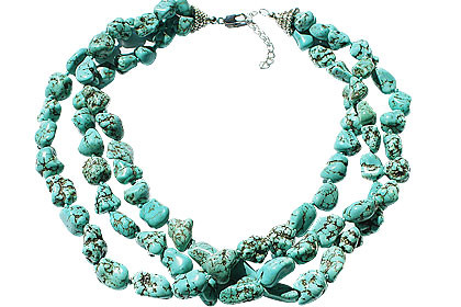Blue Green Magnesite Beaded Multistrand Necklaces 17 Inches