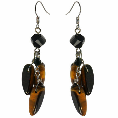 Brown Yellow Tiger Eye Onyx Beaded Earrings 1 Inches