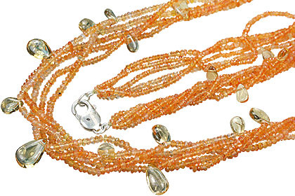 Five Strand Micro Faceted Bling Carnelian Necklace