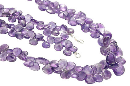 Leaf Shaped Amethyst Beaded Necklace 24 Inches Long
