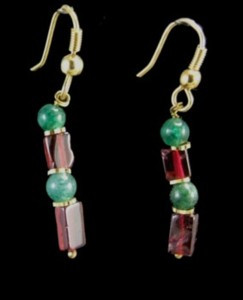 Green Red Garnet Aventurine Beaded Earrings