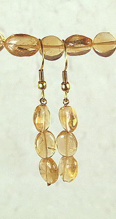 Yellow Citrine Beaded Earrings 1 Inches