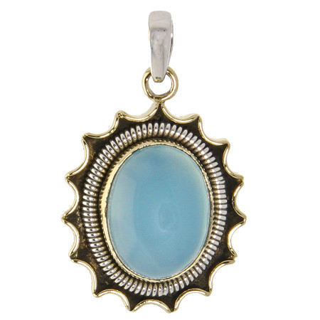 Silver And Brass Chalcedony Sunshine Pendant