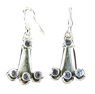 Blue Iolite Silver Setting Chandelier Earrings 1 Inches