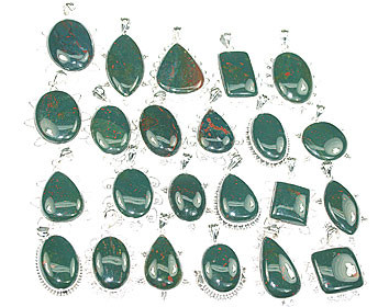 Green Bulk Lots Bloodstone Silver Setting Pendants 1.5 Inches
