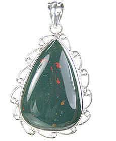 Green Bloodstone Silver Setting Drop Pendants 1.5 Inches