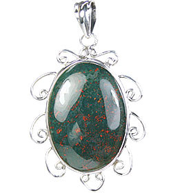 Green Bloodstone Silver Setting Pendants 1.5 Inches