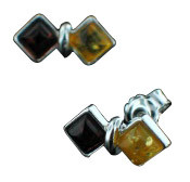 Orange Yellow Amber Silver Setting Studs Earrings 12 Inches