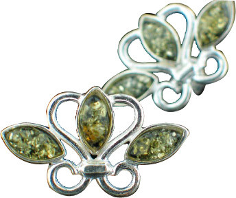 Green Amber Silver Setting Studs Earrings 15 Inches