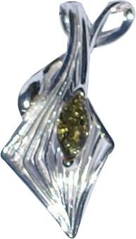 Green Amber Silver Setting Art-deco Pendants 30 Inches
