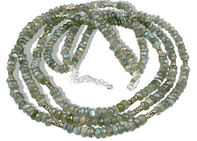 Blue Gray Labradorite Beaded Contemporary Necklaces 21.5 Inches