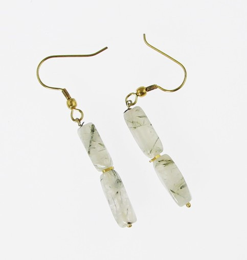 White Rutilated Quartz Beaded Earrings 1 Inches