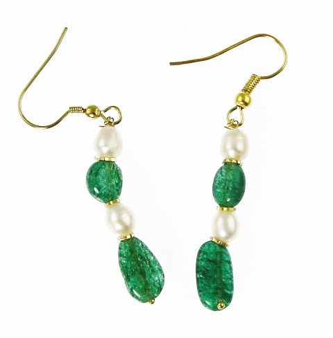 Green White Pearl Aventurine Beaded Earrings 1.4 Inches