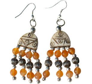 Brown Orange Bone Carnelian Beaded Ethnic Earrings 36 Inches