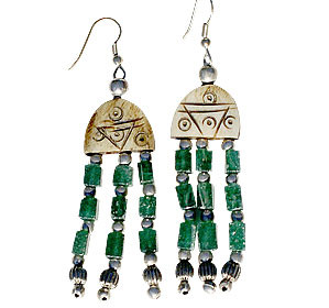 Brown Green Bone Aventurine Beaded Earrings