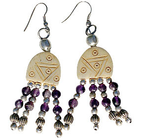 Amethyst Simulated Bone Beaded Earrings