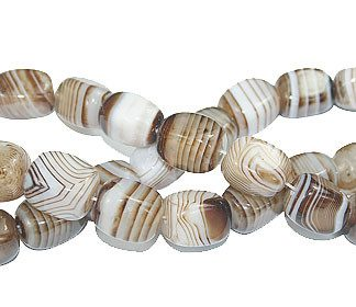 Brown White Bulk Lots Agate Beaded Square Beads 15.5 Inches