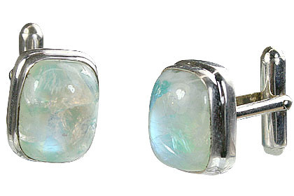 White Moonstone Silver Setting Cufflinks 0.5 Inches