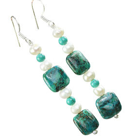 Chrysocolla, Pearl And Turquoise Earrings