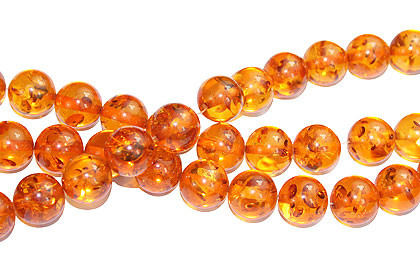 Orange Yellow Amber (synthetic) Beaded Round Beads 16 Inches
