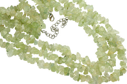 Green Prehnite Beaded Chipped Necklaces 19 Inches