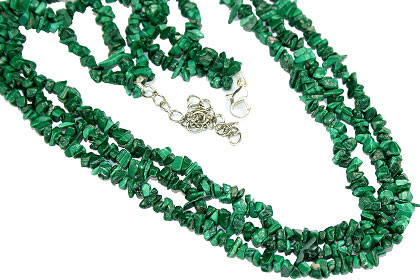Green Malachite Beaded Chipped Necklaces 19.5 Inches