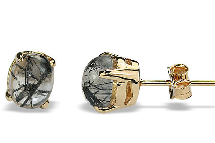 Gray Rutilated Quartz Gold Plated Earrings 0.5 Inches