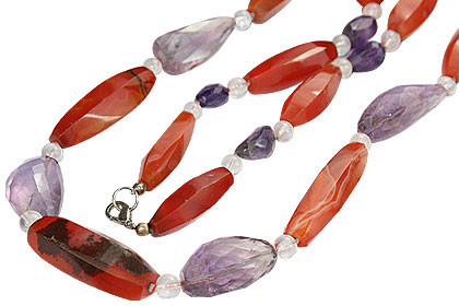 Carnelian, Crystal And Amethyst Necklace