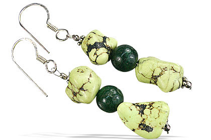 Howlite and green aventurine beaded earrings