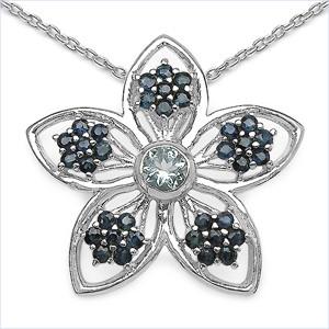 Aquamarine And Sapphire Flower Pendant
